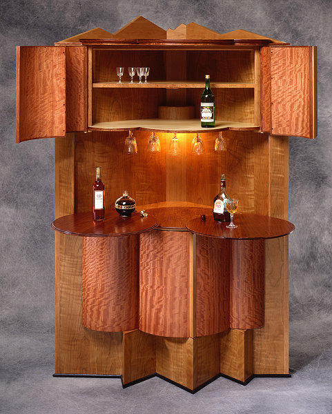 corner bars furniture.  furniture cornfield bar with cabinet top open and table extended with corner bars furniture