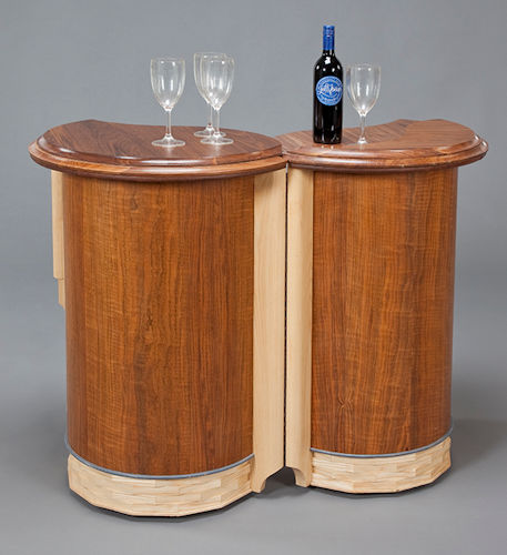 Portable Bar, in Walnut and Ash